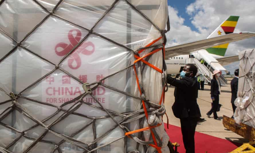 Covid-19 vaccines arrive at Harare international airport in Zimbabwe. Zimbabwe is one of a dozen African countries to receive donated vaccines from China.