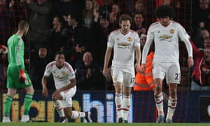 Manchester United players show their disappointment after Josh King's goal for Bournemouth.