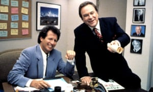 Garry Shandling as Larry Sanders, the eponymous talk show host and Rip Torn as as Artie, the show's producer, in The Larry Sanders Show, 1992-98