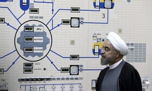 Hassan Rouhani in front of plan of plant