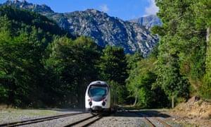The Bastia-Corte-Ajaccio train, Corsica.