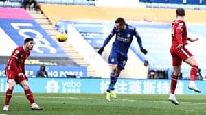 Jamie Vardy of Leicester City first half effort on goal.