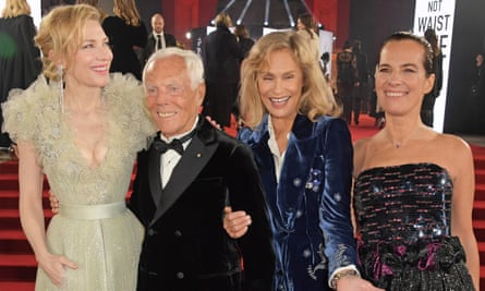 Giorgio Armani with (l to r) Cate Blanchett, , Lauren Hutton and his niece Roberta Armani at the 2019 Fashion Awards, where he won the award for outstanding achievement.