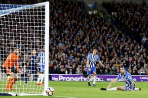 Cue a huge sigh of relief from Brighton's Shane Duffy as the ball goes inches wide of the upright.