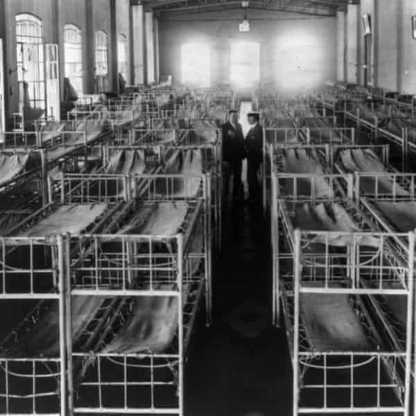 A rows of beds in the women's dormitory at the Hotel de Inmigrantes.