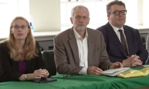From left, Cat Smith, Jeremy Corbyn and Tom Watson