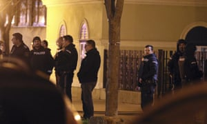 Police outside the church in Floridsdorf in Vienna where the robbery took place.