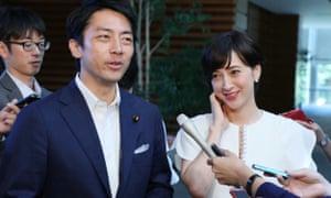 Shinjirō Koizumi and his wife, Christel Takigawa, a former TV anchorwoman