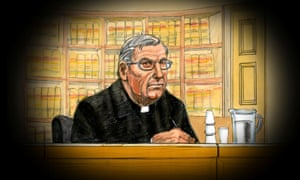 Former Vatican treasurer Cardinal George Pell is depicted in this courtroom sketch during his appearance at the Supreme Court of Victoria in Melbourne