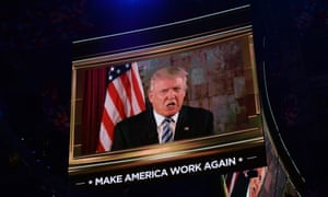 Candidate Donald Trump makes a remote address to the Republican convention after being declared the nominee.