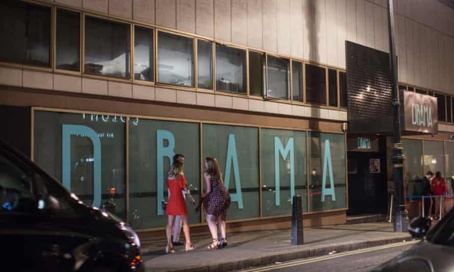 Clubbers on their way to Drama nightclub on Park Lane.