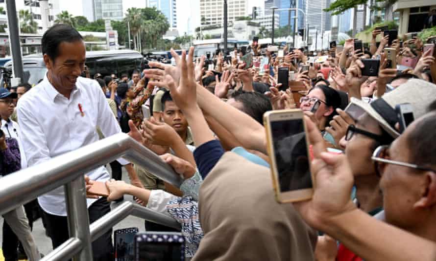 Indonesian president Joko Widodo meets supporters in Jakarta on Tuesday.