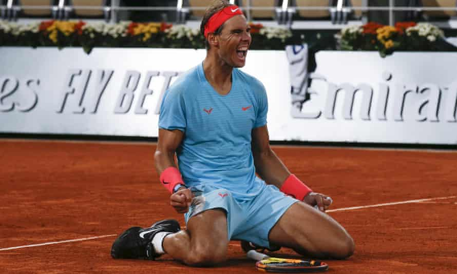 Rafael Nadal celebrates crushing Novak Djokovic in their last meeting at the French Open – the 2020 final.
