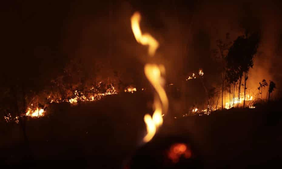 Amazon fires burn at night