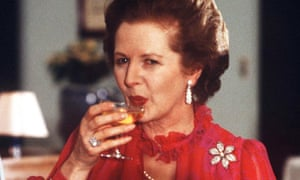 Cheers: whatever your voting decisions, there will be a wine for you to celebrate the result or drown your sorrows with. Here, Margaret Thatcher enjoys a drink in 1982.