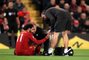 Salah receives treatment.