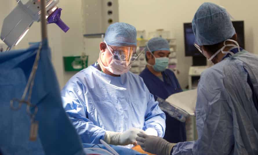 NHS Hospital staff at work.