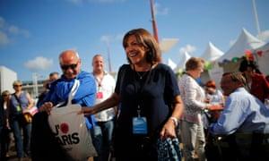 Hidalgo attends the Socialist party's Université d'été summer meeting in La Rochelle.