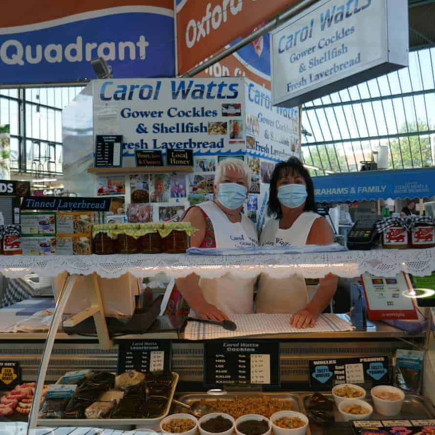Carol Watts (left) and sister Jo at her stall in Swansea Market.