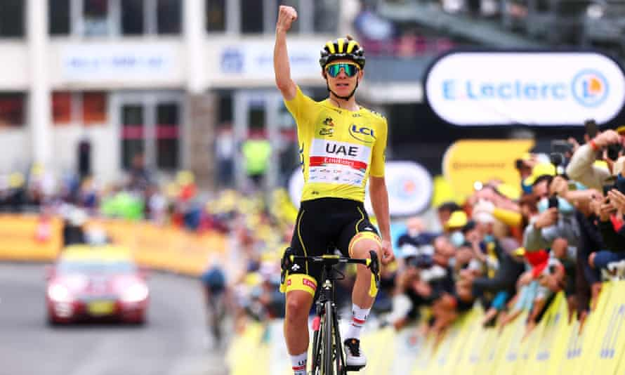 Tadej Pogacar of Team Emirates consolidates his hold on the yellow jersey in taking stage 18 in Luz Ardiden.