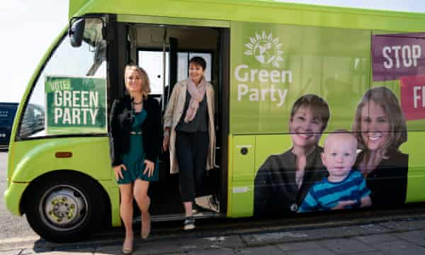 Green Party MP Caroline Lucas (right) campaigns with Alexandra Phillips, later elected as the party's MEP for south-east England