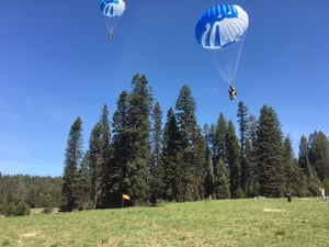 Smokejumpers make a practice jump into a meadow.