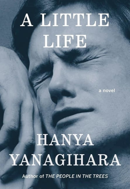 The cover of A Little Life with a photo of an orgasmic man