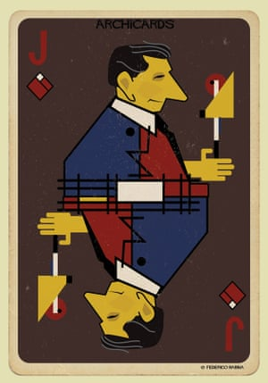 Gerrit Rietveld portrayed in one of Federico Babina's Archicards