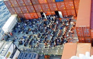 Asylum seekers onboard the Norwegian cargo ship MS Tampa on in August 2001.