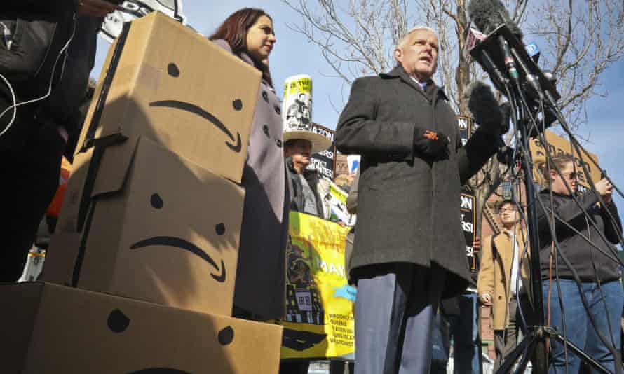 Jimmy Van Bramer speaks during a conference in Queens, New York following Amazon's announcement it would abandon its proposed headquarters on 14 February.