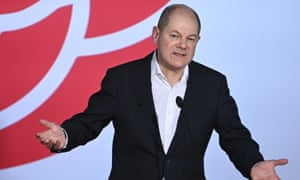 Chancellor candidate of the German Social Democrats (SPD) and German Minister of Finance Olaf Scholz speaks at the Political Ash Wednesday gathering of the Social Democratic Party (SPD) party on 17 February, 2021 in Vilshofen, Germany.