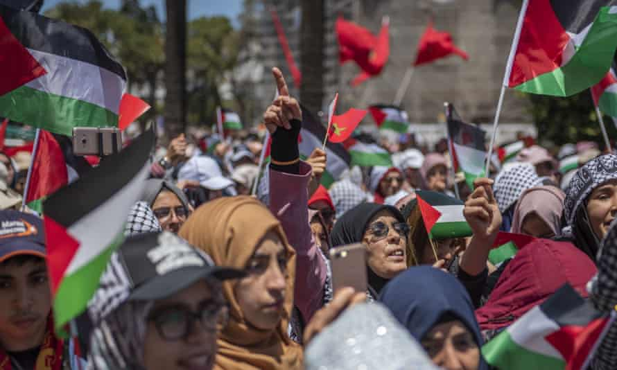 People demonstrate in support of the Palestinian 'Great March of Return' in Rabat, Morocco, 2018