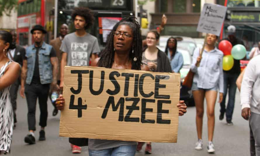 Taking to the streets: a Black Lives Matter demonstration for Mzee Mohammed in London. Marcia Rigg holds a placard – her brother Sean also died in custody, in 2008.
