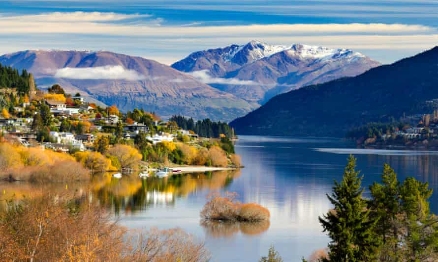 Panoramic view of Queenstown in New Zealand.