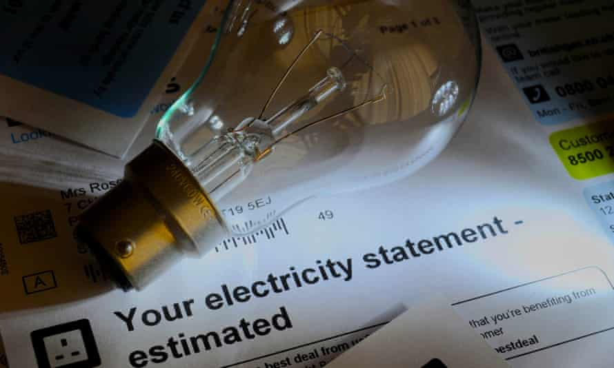 Estimated electricity bill with lightbulb.