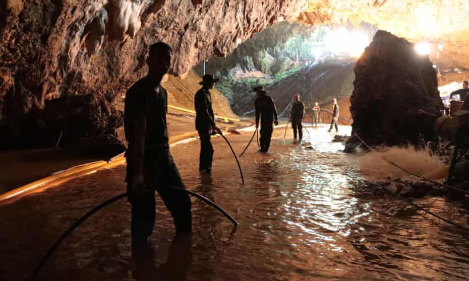 Members of the Royal Thai Navy during the rescue operation in 2018 to save 12 boys and their football coach who were trapped in Tham Luang cave in Thailand.