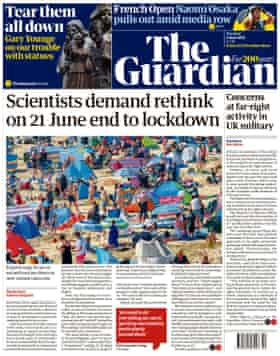 Front page of the Guardian, Tuesday June 1, 2021