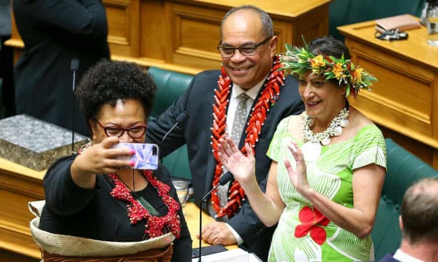 Tongan-born MP Anahila Kanongata'a-Suisuiki takes a selfie with fellow Labour MPs Aupito William Sio, originally from Samoa, and Cook Islander Poto Williams, during the commission opening of parliament