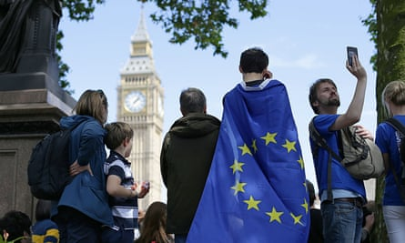 People taking part in a March for Europe rally in London.