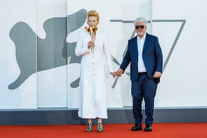 Tilda Swinton and Pedro Almodovar at the Venice premiere of The Human Voice.