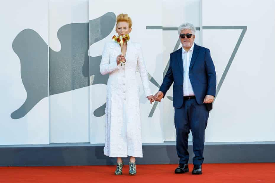Tilda Swinton and Pedro Almodovar at the Venice premiere of The Human Voice.
