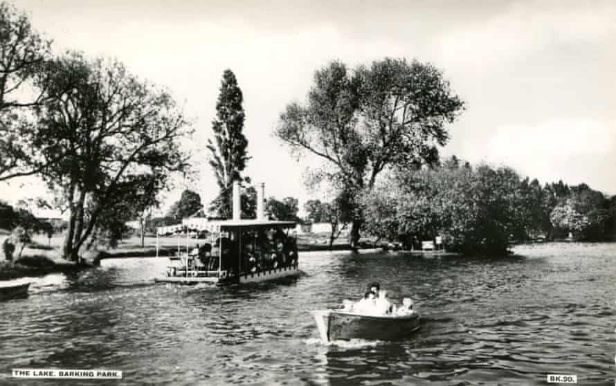 a postcard of Barking Park lake.