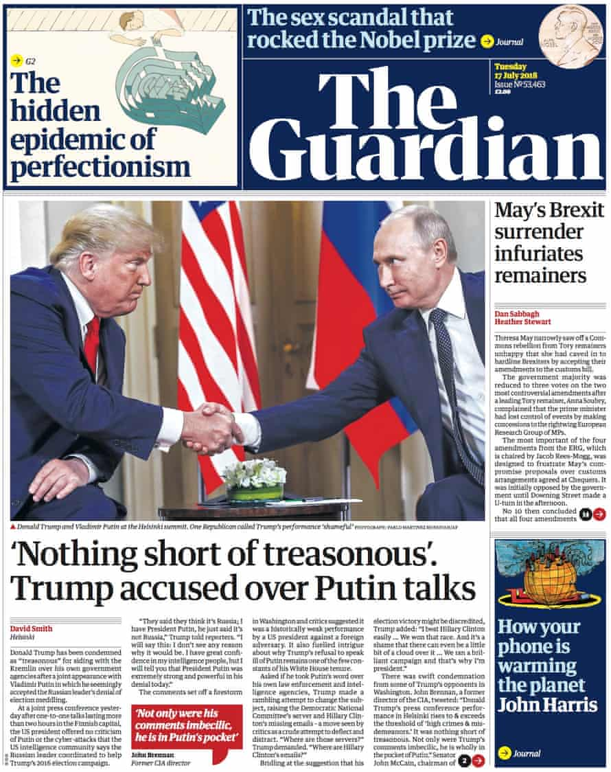 Guardian front page, Tuesday 17 July 2018
