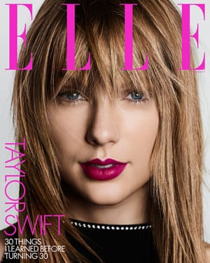 The cover of the April edition of US Elle, in which Swift alluded to Donald Trump's 'disgusting' rhetoric.