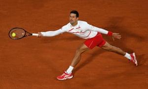 Serbia's Novak Djokovic returns to Colombia's Daniel Elahi Galan.