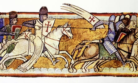 Crusaders of the Knights Templar on an illustrated manuscript page held by the Royal Library of the Netherlands.
