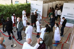 Healthcare workers wait to receive the Pfizer/BioNTech Covid-19 vaccine during a coronavirus vaccination campaign at Lebanese American University Medical Center-Rizk Hospital in Beirut, Lebanon on 16 February, 2021.