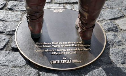 The new plaque after Fearless Girl's removal.
