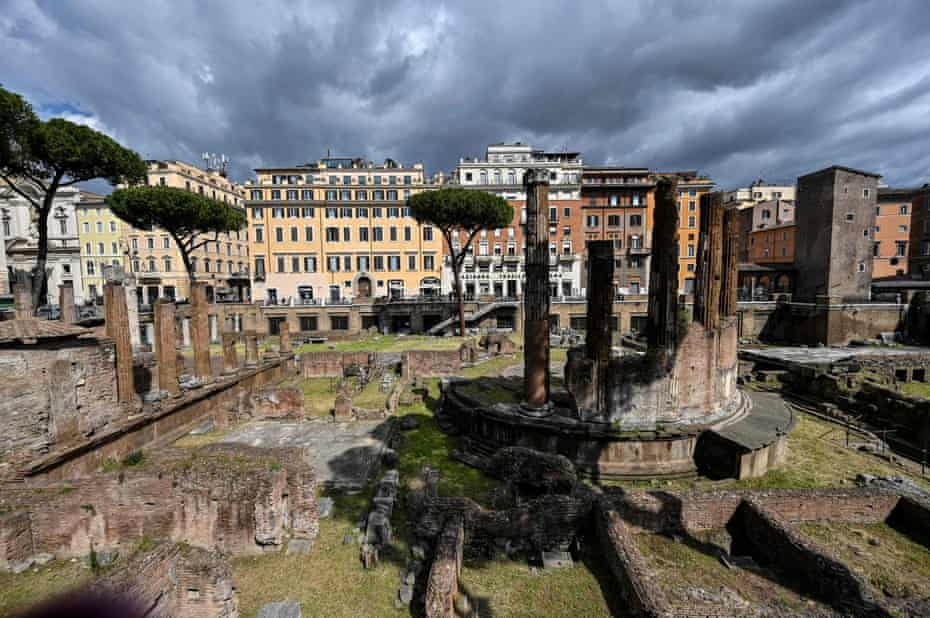 The Largo Argentina archaeological site in central Rome