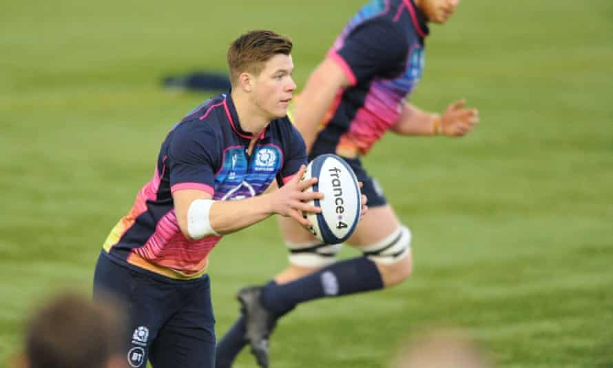 The Scotland centre Huw Jones during training before the visit of Ireland to Murrayfield in the Six Nations.